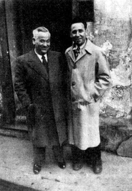 Benito Milla (dreta) amb l'intel·lectual anarquista García Birlán (París, 1948)