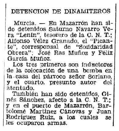 """Notícia de la detenció de Félix García Muñoz i altres companys apareguda en el diari valencià """"Las Provincias"""" del 12 de desembre de 1934"""