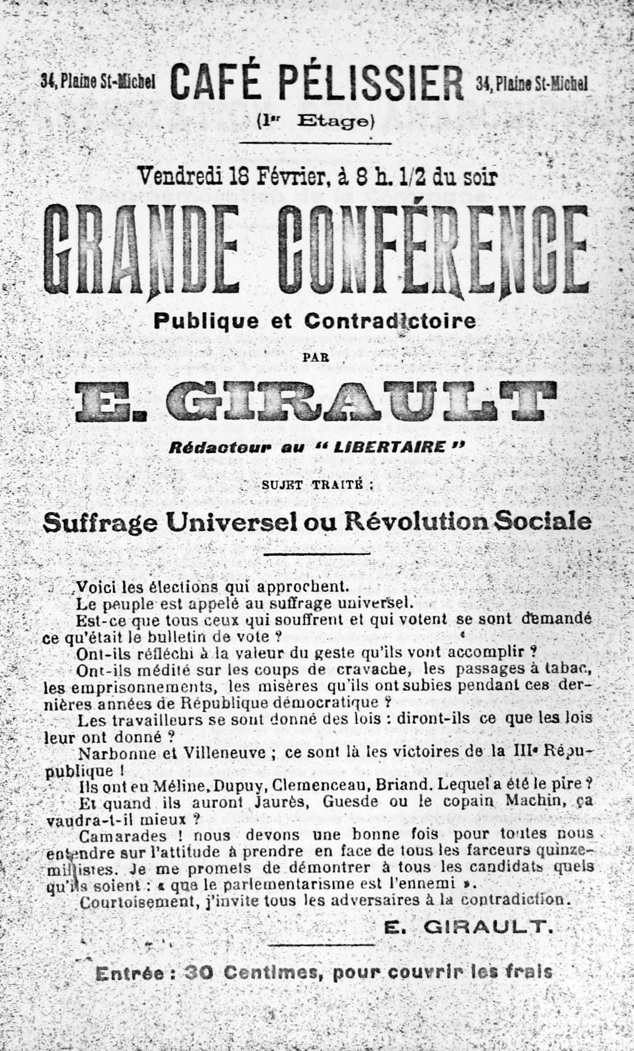 Octaveta anunciant la conferència de Girault