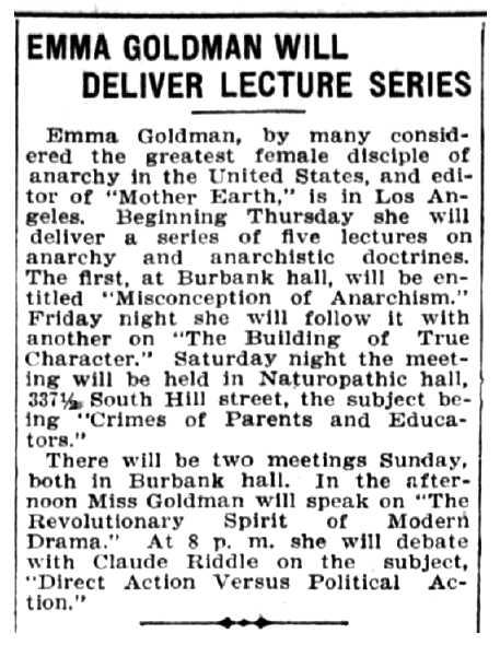 """Notícia del cicle de conferències d'Emma Goldman apareguda en el periòdic """"Los Angeles Herald"""" del 20 de maig de 1907"""