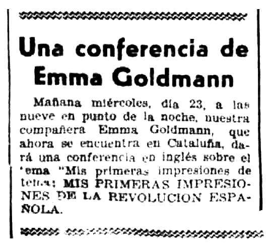 """Notícia de la conferència d'Emma Goldman apareguda en el periòdic barcelonès """"Solidaridad Obrera"""" del 23 de setembre de 1936"""