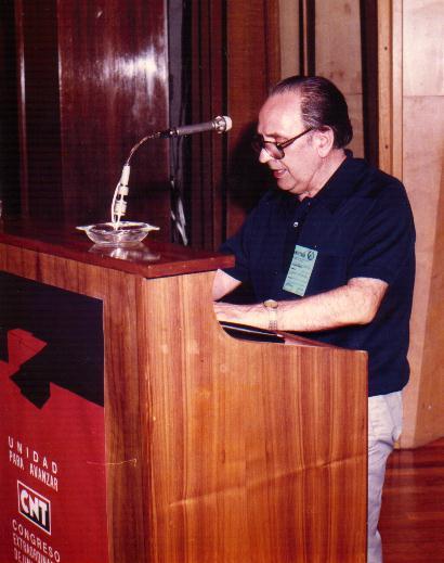 Fernando Gómez Peláez en el Congrés d'Unificació Confederal (Madrid, 29 de juny i 1 de juliol de 1984)