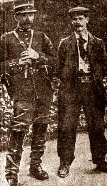 "Auguste Gorion detingut en una foto apareguda en el periòdic parisenc ""La Matin"" del 28 d'agost de 1910"
