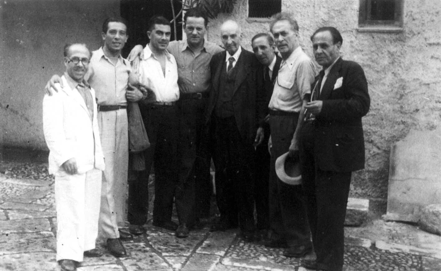 D'esquerra a dreta: Filippo Guzzardi, Giovanni Spataliatore, Alfonso Failla, Pio Turroni, Paolo Schicchi, D'Andrea, Armando Borghi i Filippo Gramignano (Palerm, 1946)