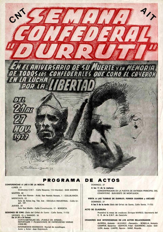"""Cartell de la """"Semana Confederal Durruti"""" realitzat per Jesús Guillén (""""Guillembert"""")"""