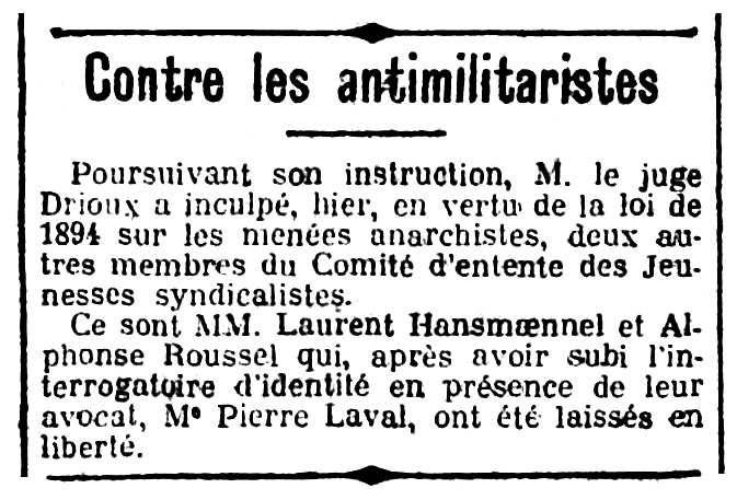 """Notícia de la detenció de Laurent Hansmoennel i Alphonse Roussel apareguda en el diari parisenc """"Le Siècle"""" del 9 de desembre de 1912"""
