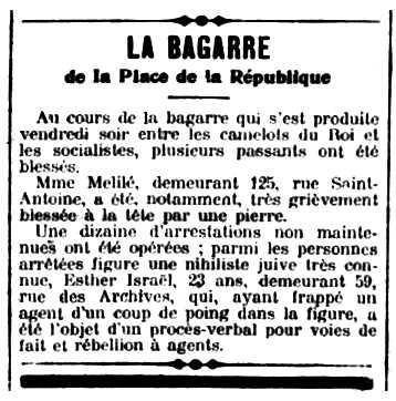 """Notícia sobre la baralla apareguda en el diari parisenc """"La Libre Parole"""" del 21 de juny de 1914"""