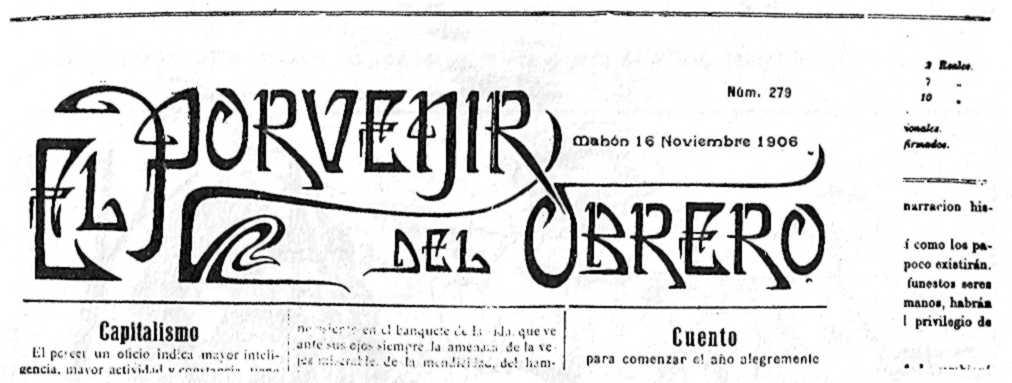 """Capçalera d'""""El Porvenir del Obrero"""""""