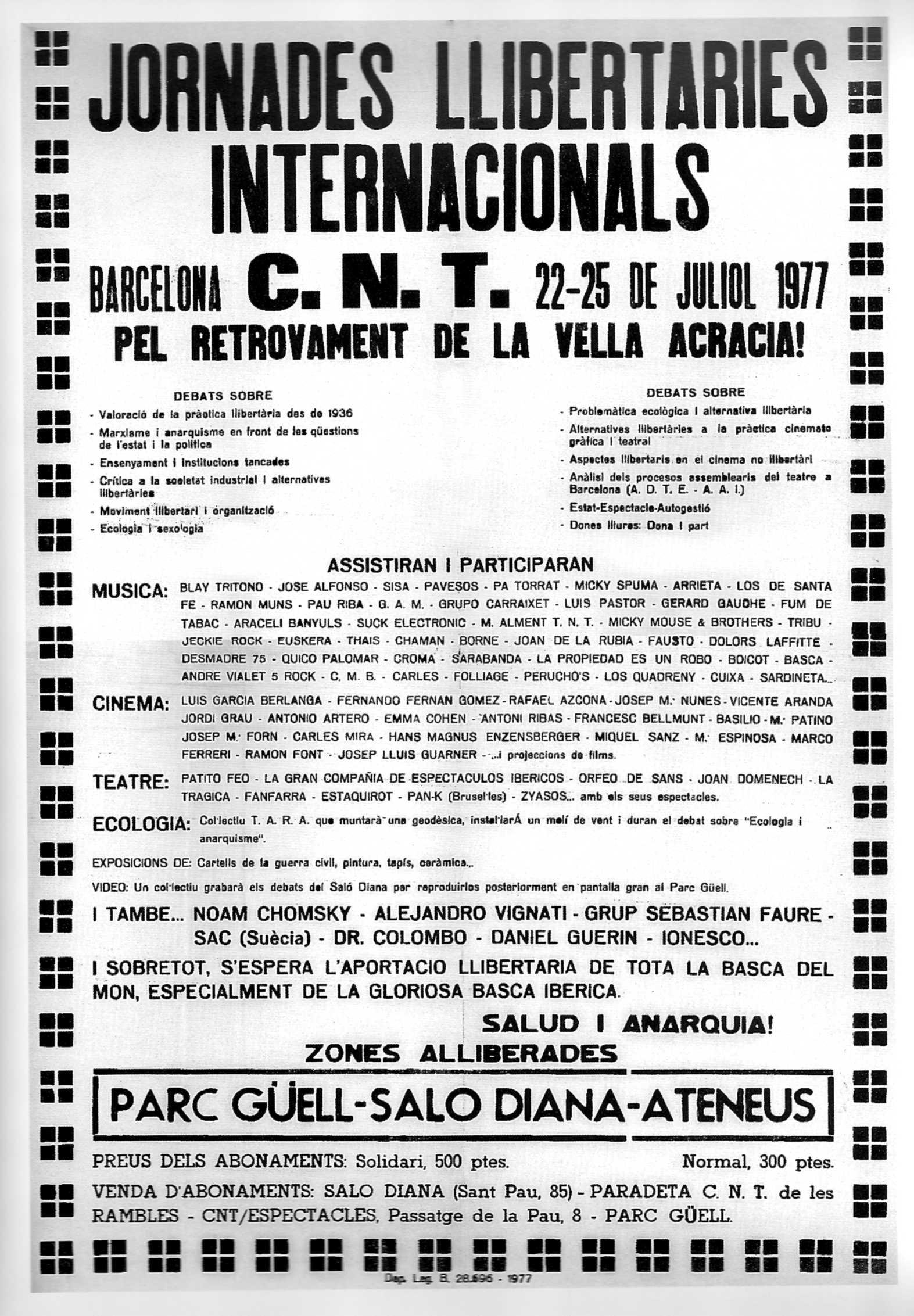 Cartell de les Jornades Llibertàries Internacionals de Barcelona de 1977