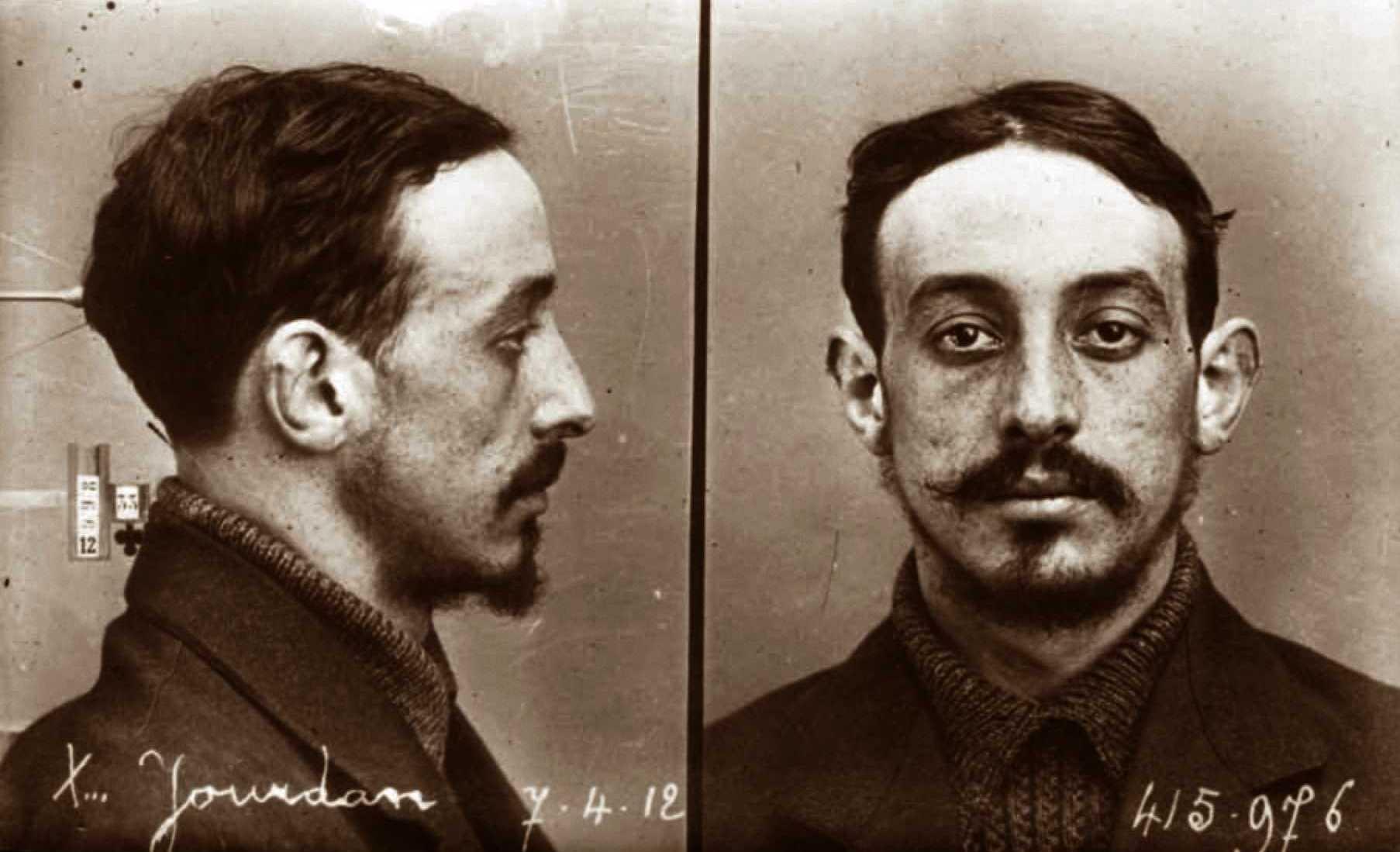 Foto policíaca de Pierre Jourdan (7 d'abril de 1912)