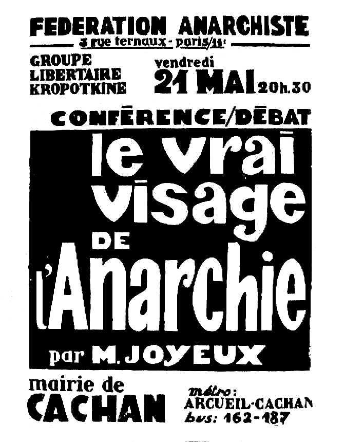 Cartell de la xerrada de Maurice Joyeux