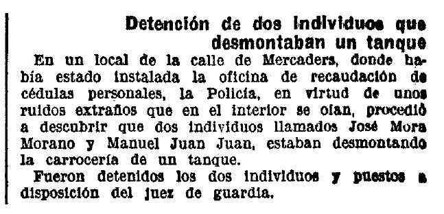 """Notícia de la detenció de Manuel Juan Juan apareguda en el diari barceloní """"La Vanguardia"""" del 29 d'agost de 1937"""