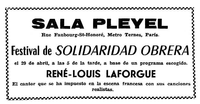 """Propaganda del concert apareguda en el periòdic parisenc """"Solidaridad Obrera"""" del 15 de març de 1956"""