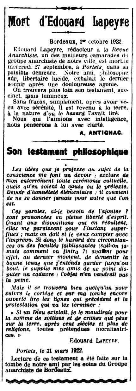 """Necrològica d'Édouard Lapeyre apareguda en el periòdic parisenc """"Le Libertaire"""" del 6 d'octubre de 1922"""