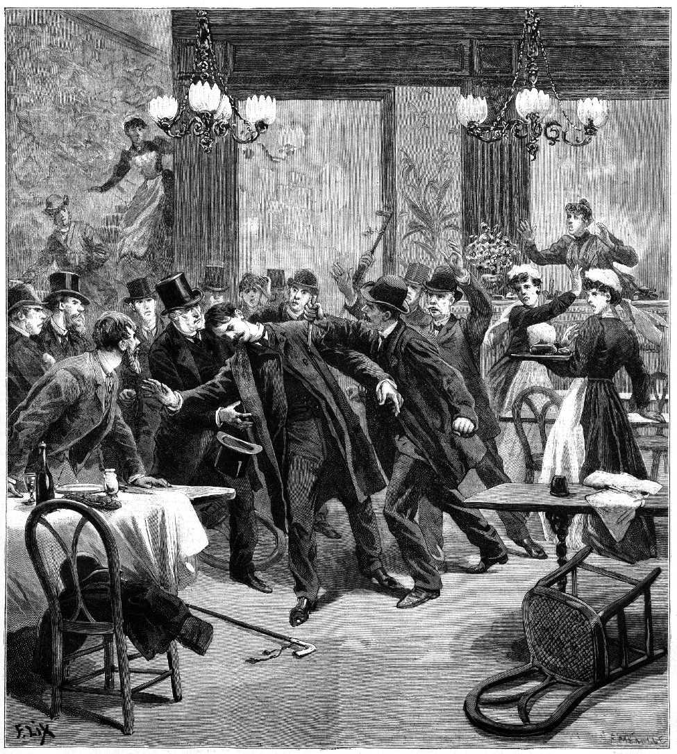 """L'atemptat de Léauthier segons un dibuix d'F. Lix publicat en """"Le Petit Journal"""" del 2 de desembre de 1893"""