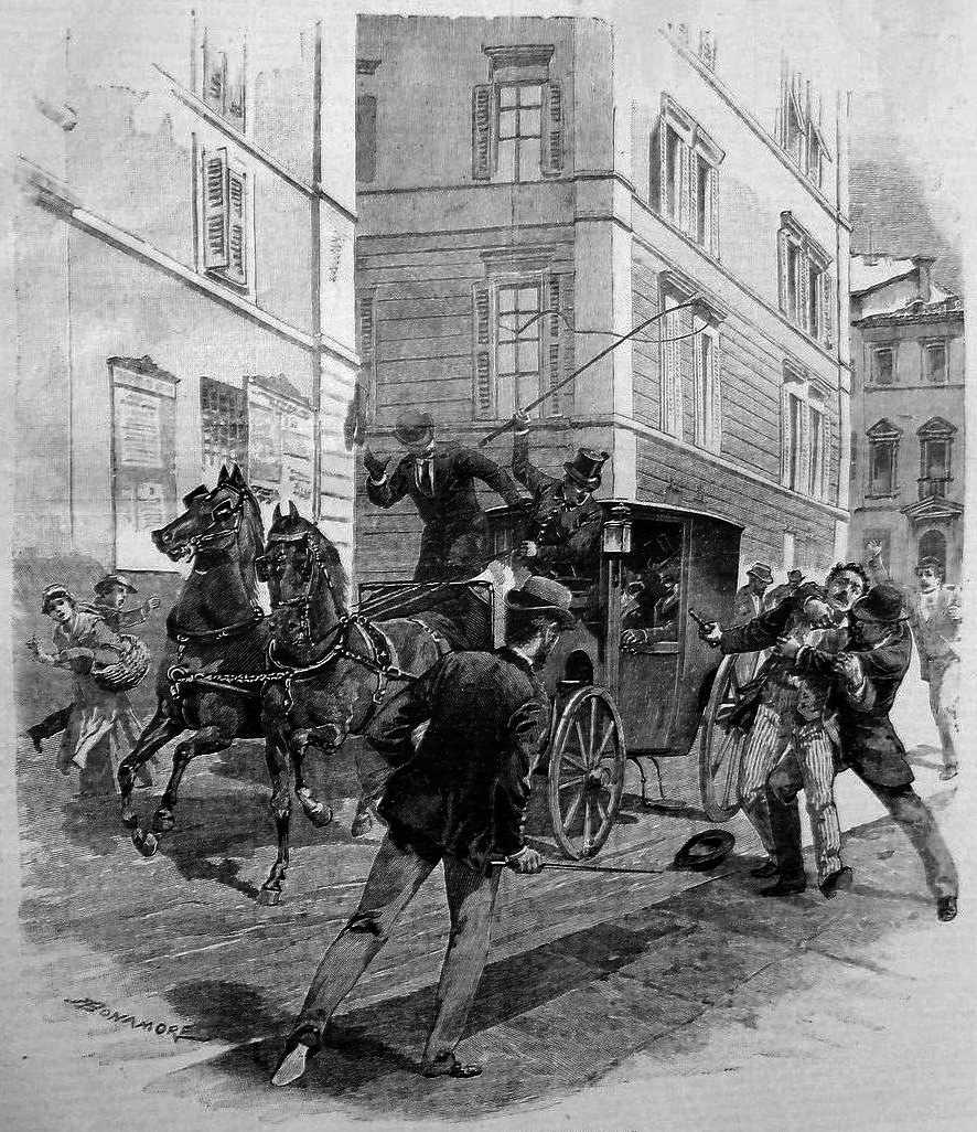 """L'atemptat contra Crispi segons un dibuix d'A. Bonamore publicat en el diari milanès """"Il Secolo Illustrato della Domenica"""" del 24 de juny de 1894"""