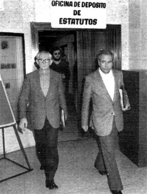 Pedro Barrios Guazo i Juan Gómez Casas al Registre d'Associacions Sindicals