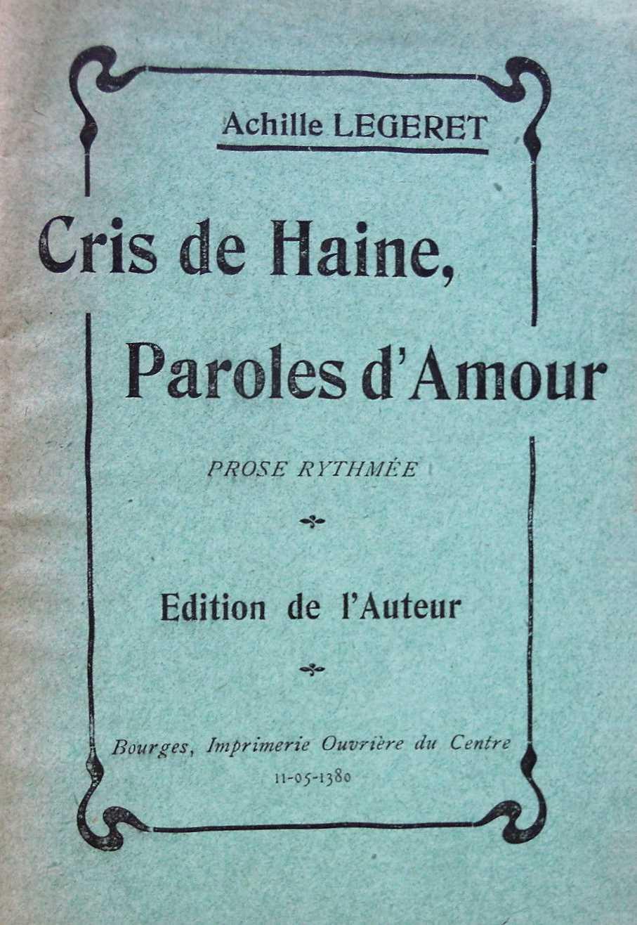 Portada del fullet Cris de haine, paroles d'amour. Prose rythmée (1905)
