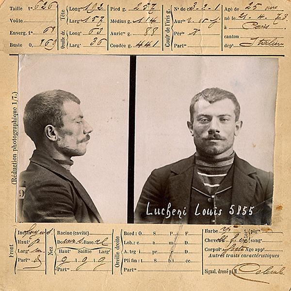 Fitxa policíaca de Luigi Luccheni