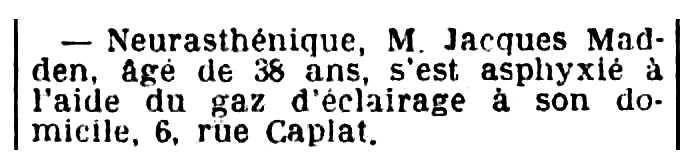 """Nota del suïcidi de Jack Madden apareguda en el diari parisenc """"L'Oeuvre"""" del 18 d'agost de 1932"""