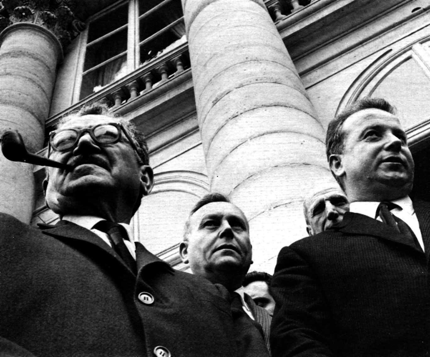 La plana major comunista durant la Conferència de Grenelle: Benoît Frachon (a l'esquerra) i Georges Séguy (a la dreta)