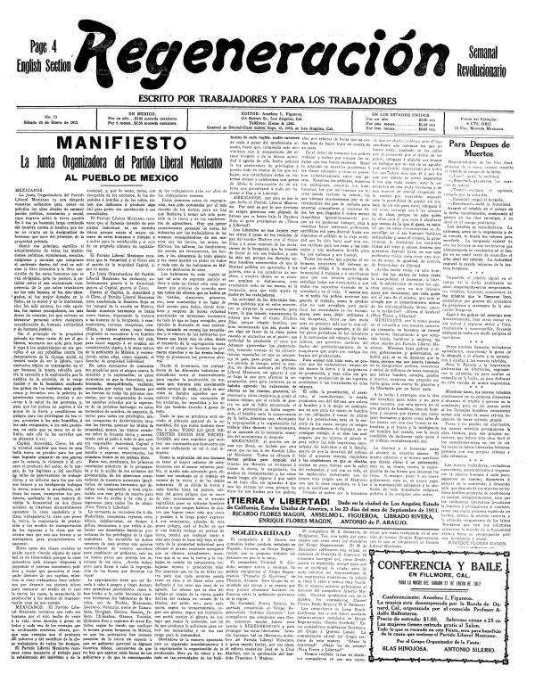 """El Manifest publicat en """"Regeneración"""" el 20 de gener de 1912"""