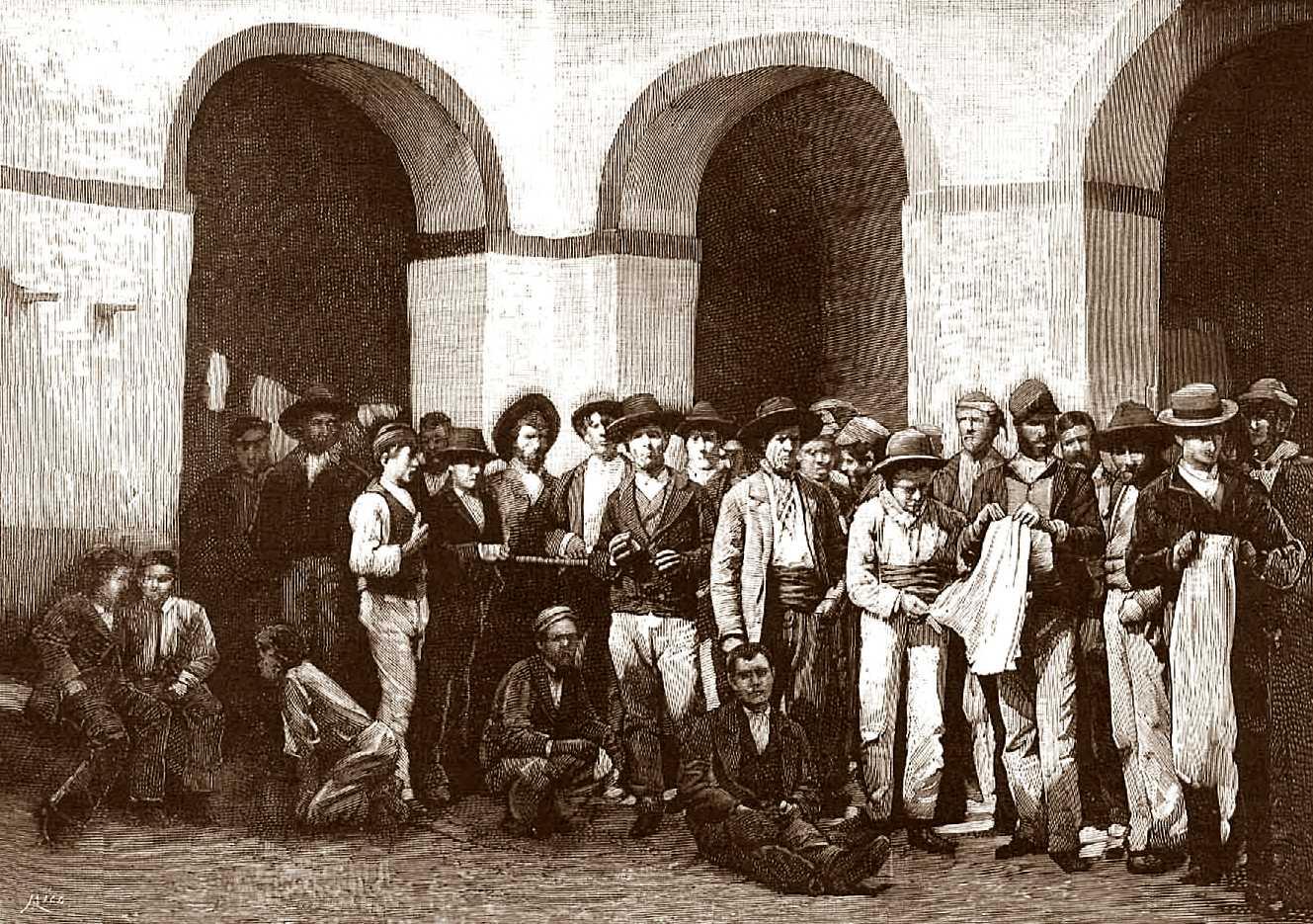 Grup de pagesos tancats a la presó de Jerez acusats de complicitat amb «La Mano Negra» («La Ilustración Española y Americana» del 22 de març de 1883)