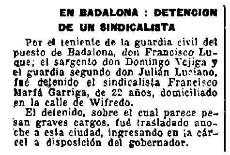 """Notícia de la detenció de Francesc Marfà Garriga apareguda en el diari barceloní """"La Publicidad"""" de l'1 d'agost de 1921"""