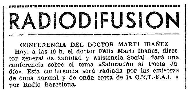 """Propaganda de la conferència apareguda en el diari barceloní """"La Vanguardia"""" del 7 d'abril de 1937"""