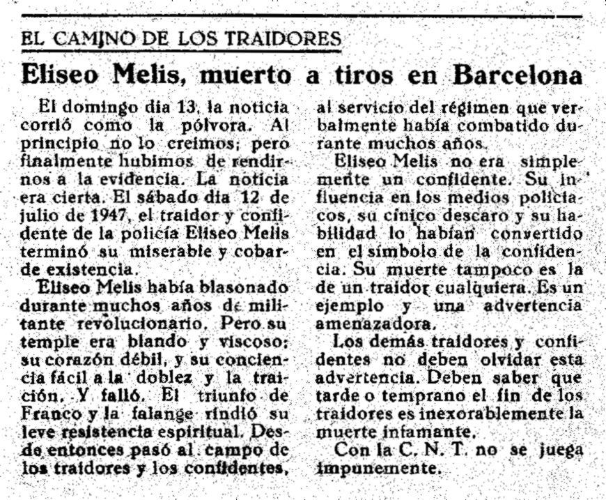 """La notícia de la mort d'Eliseu Melis publicada en el número 31 de la clandestina """"Solidaridad Obrera"""" d'agost de 1947"""
