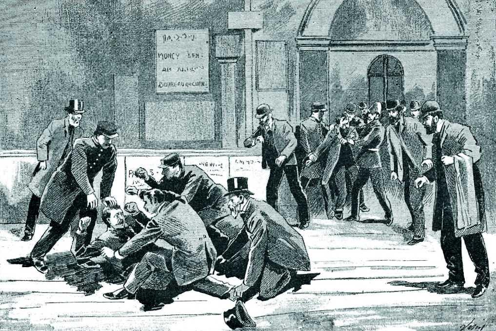 La detenció de Meunier i Ricken segons el setmanari barceloní «La Ilustración Ibérica», del 21 d'abril de 1894, que recull la il•lustració del periòdic novaiorquès «The Daily Graphic», del 6 d'abril de 1894