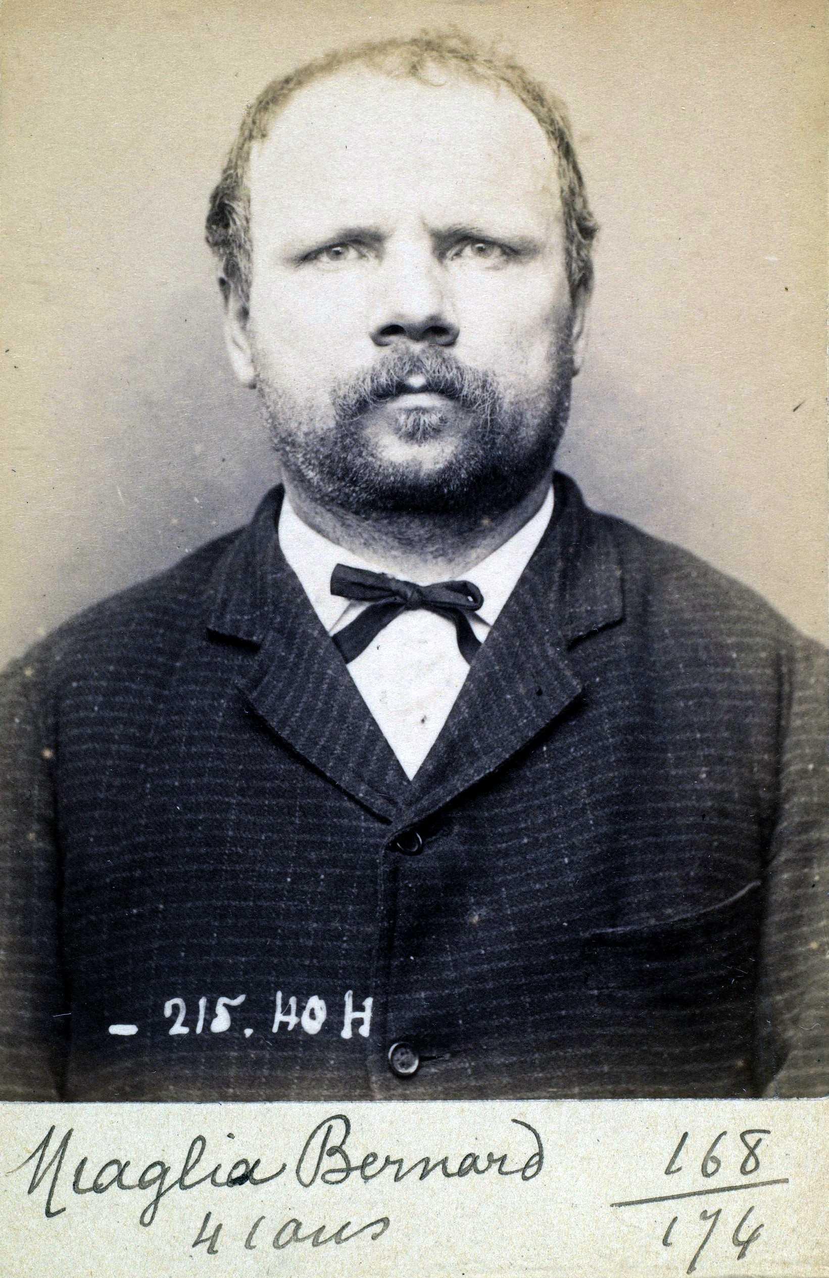 Foto policíaca de Bernardo Miaglia (9 de març de 1894)
