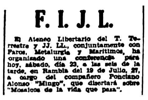 "Notícia de l'acte apareguda en el periòdic barceloní ""Solidaridad Obrera"" del 23 de julio de 1938"
