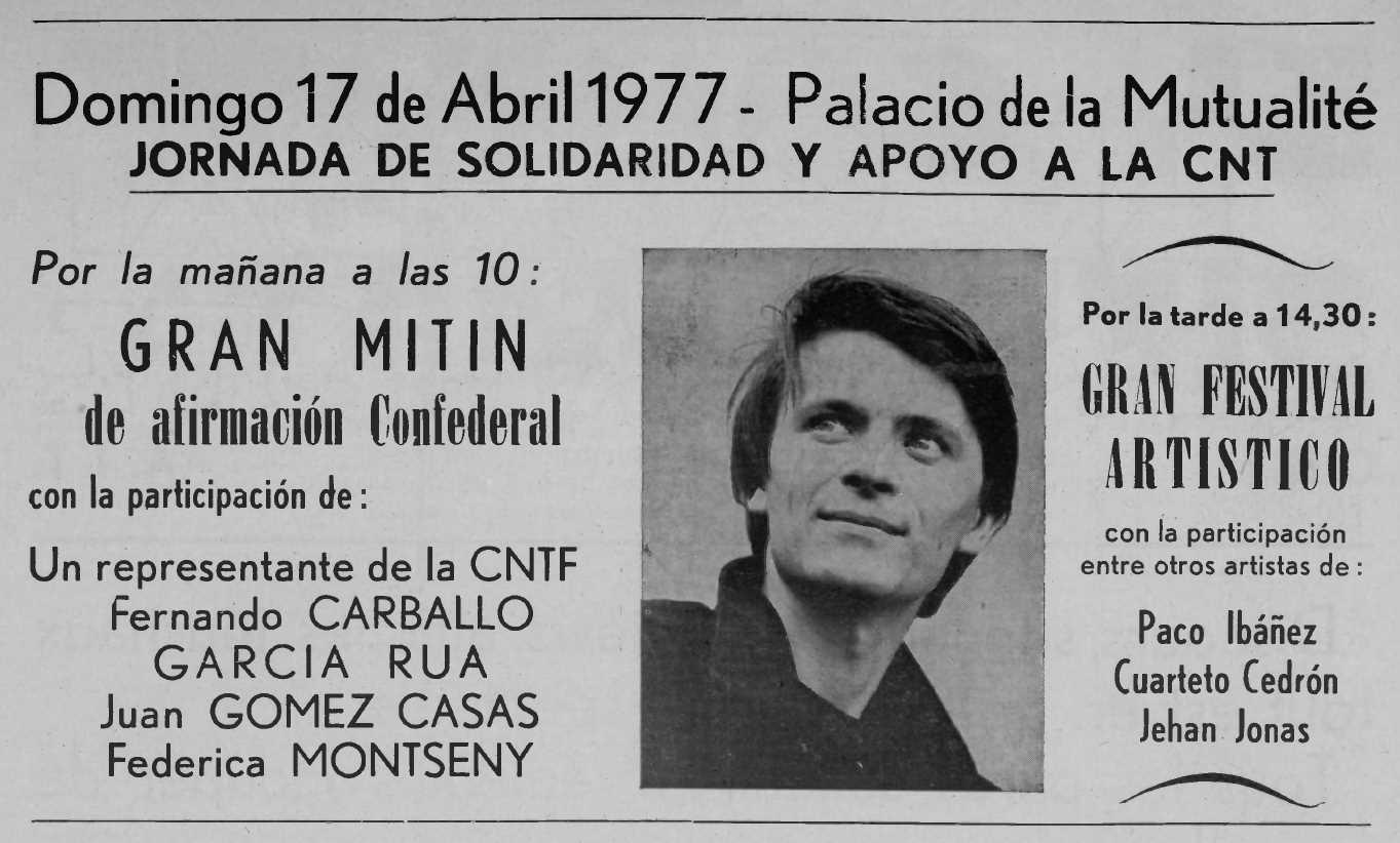 """Propaganda de l'acte publicada en el periòdic parisenc """"Le Combat Syndicaliste"""" del 17 de març de 1977"""