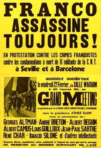 Cartell del míting antifranquista a la Sala Wagram de París (22 de febrer de 1952)