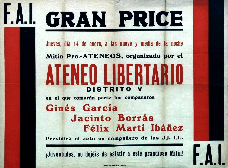 Cartell del Míting Pro-Ateneus del 14 de gener de 1937