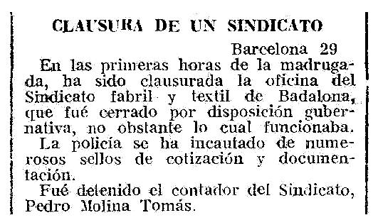 """Notícia de la detenció de Pedro Molina Tomás apareguda en el diari de Melilla """"El Telegrama del Rif"""" del 30 d'abril de 1932"""