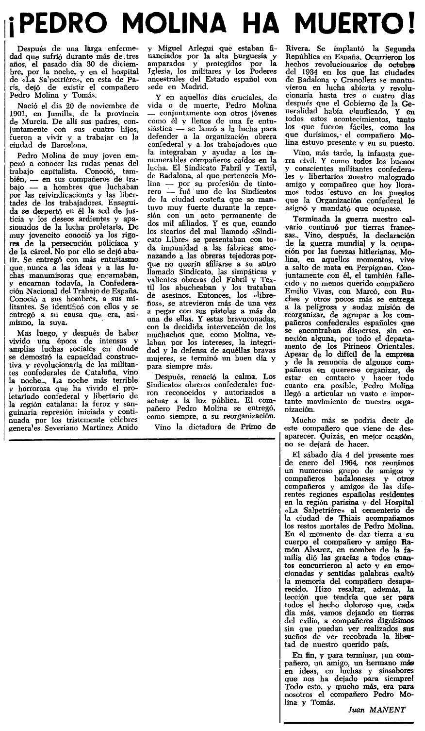 """Necrològica de Pedro Molina Tomás apareguda en el periòdic tolosà """"Espoir"""" del 2 de febrer de 1964"""