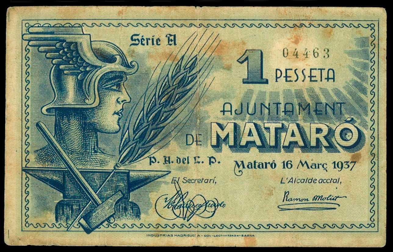 Bitllet de Mataró de 1937 amb la signatura de Ramon Molist Valls