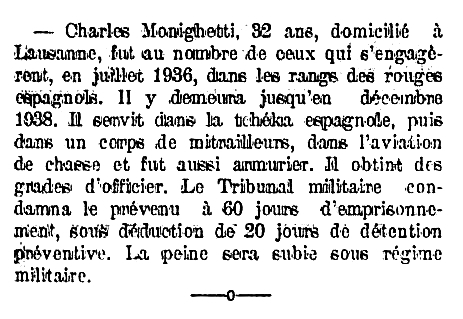 "Notícia de la condemna de Charles Monighetti apareguda en el diari de Saint-Maurice (Valais, Suïssa) ""Le Novelliste"" del 30 d'abril de 1939"
