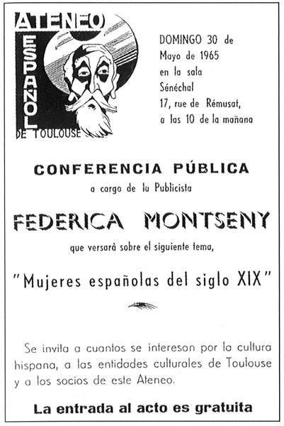 Cartel de la conferencia de Frederica Montseny