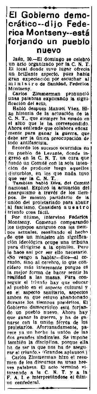 """Notícia del míting de Frederica Montseny apareguda en el diari madrileny """"La Libertad"""" del 31 de març de 1937"""