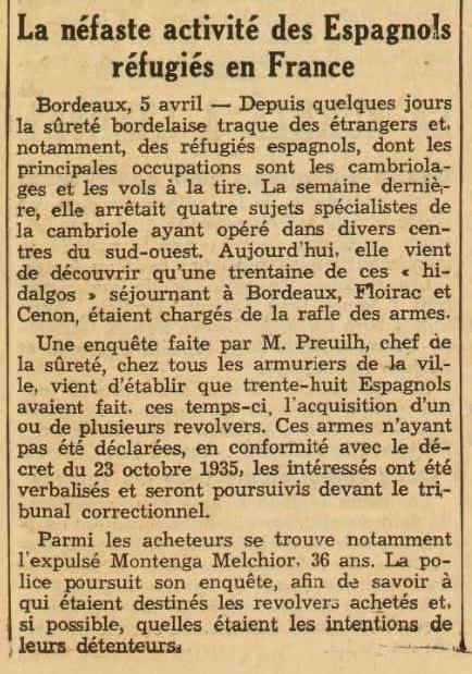 """Notícia sobre la detenció de Melchor Montuenga Golvano apareguda en el diari de Casablanca """"Le Petit Marrocain"""" del 6 d'abril de 1937"""
