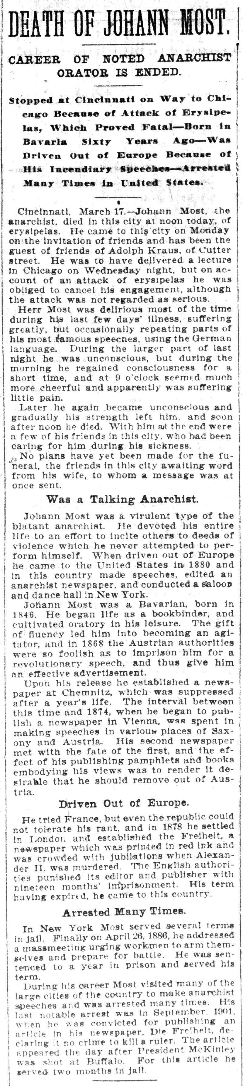"Notícia de la mort de Johann Most en el ""Chicago Tribune""  del 18 de març de 1906"