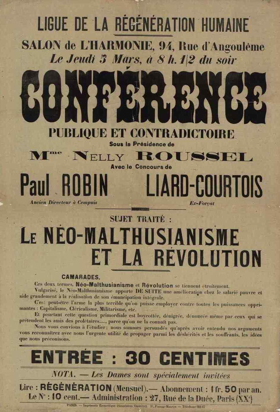 Cartell de la conferència neomaltusiana