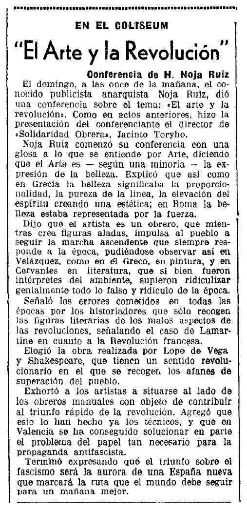 """Ressenya de la conferència de Noja Ruiz apareguda en el diari barceloní """"La Vanguardia"""" del 23 de març de 1937"""