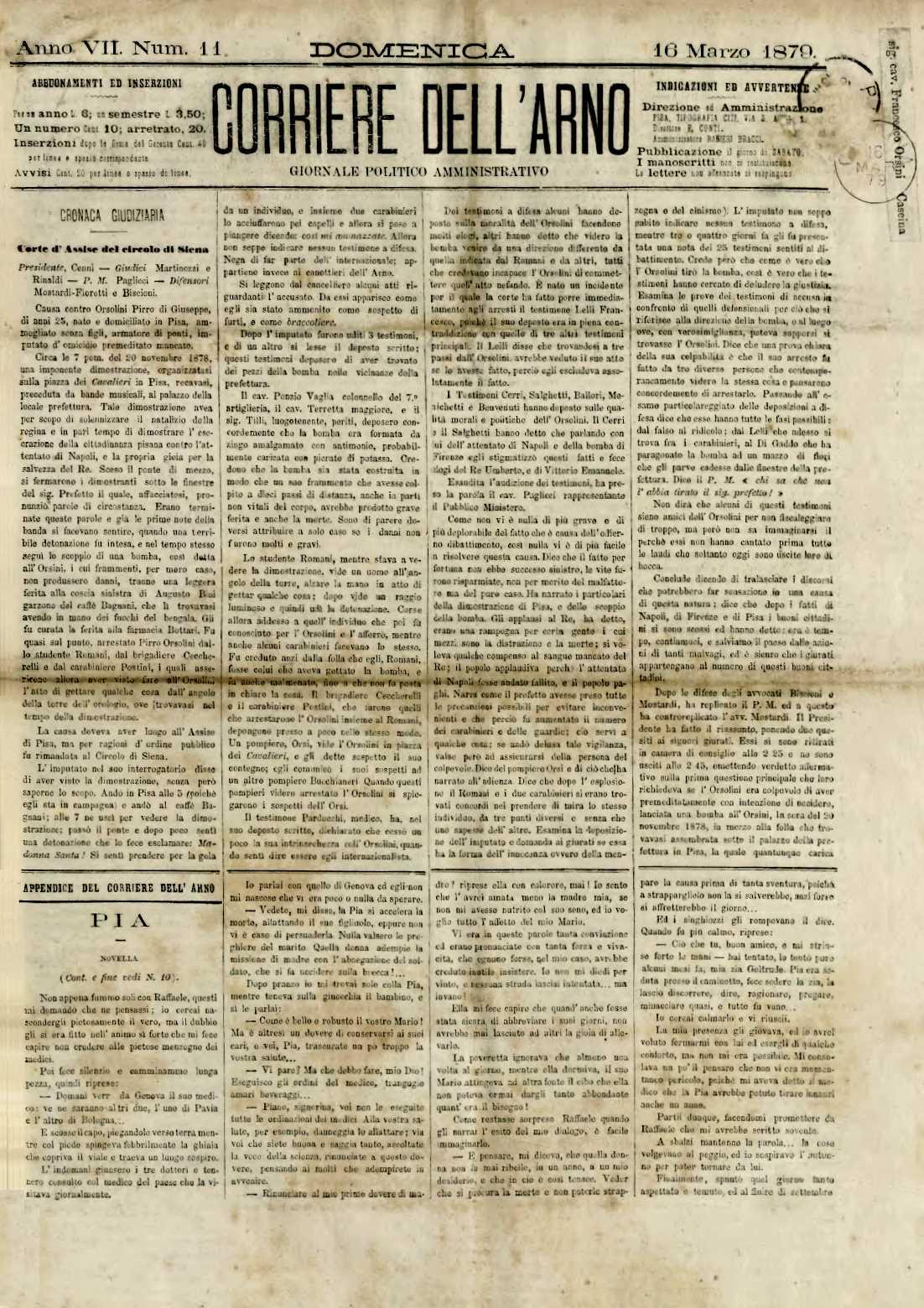 "Notícia sobre el judici a Pirro Orsolini apareguda en el diari pisà ""Corrieri dell'Arno"" del 16 de març de 1879"