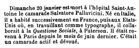 """Necrològica de Salvatore Pallavicini apareguda en el periòdic parisenc """"Le Temps Nouveaux"""" del 9 de febrer de 1901"""