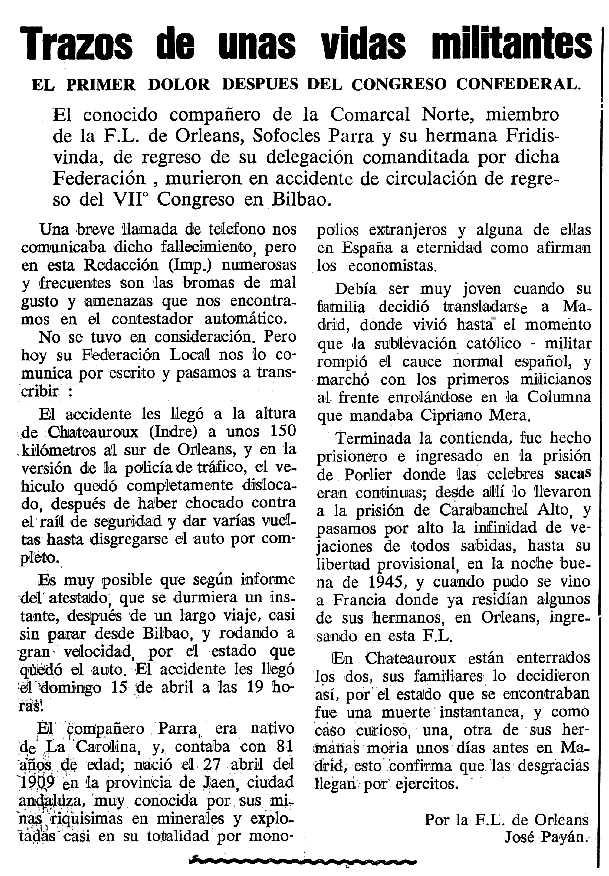 """Necrològica de Sófocles Parra Salmerón apareguda en el periòdic tolosà """"Cenit"""" del 7 de maig de 1990"""