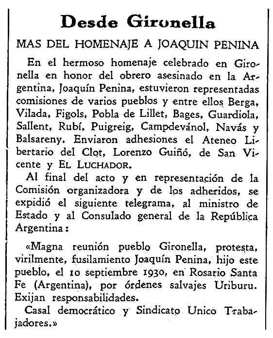 """Notícia sobre l'homenatge a Joaquim Penina publicat en el periòdic barceloní """"El Luchador"""" del 31 de juliol de 1931"""